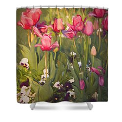 Pansies And Tulips Shower Curtain by Lana Trussell