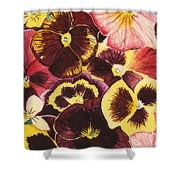 Shower Curtain featuring the painting Pansies Competing For Attention by Shawna Rowe