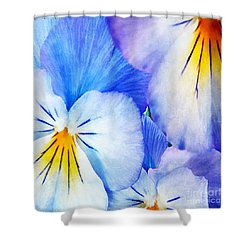 Pansies In Blue Tones Shower Curtain