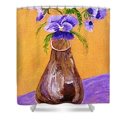 Pansies In Brown Vase Shower Curtain