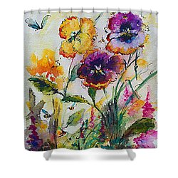 Pansies In My Garden Watercolor And Ink Shower Curtain by Ginette Callaway