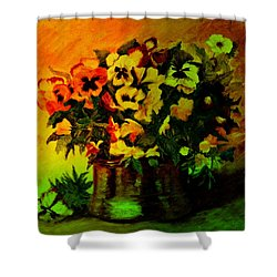 Pansies In The Vase Shower Curtain
