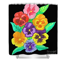 Pansies On Black Shower Curtain by Irina Afonskaya
