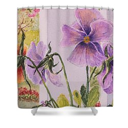 Pansies On My Porch Shower Curtain by Mary Ellen Mueller Legault