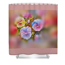 Shower Curtain featuring the painting Pansies by Patricia Schneider Mitchell