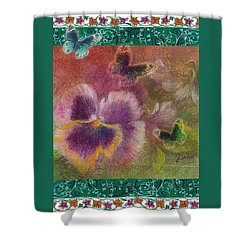 Pansy Butterfly Asianesque Border Shower Curtain