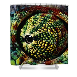 Panther Chameleon Eye Shower Curtain by Daniel Heuclin and Photo Researchers
