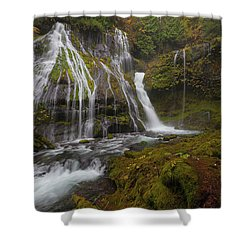 Panther Creek Falls In Autumn Shower Curtain by David Gn