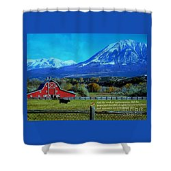 Paonia Mountain And Barn Shower Curtain by Annie Gibbons