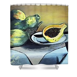 Papaya Still Life Shower Curtain