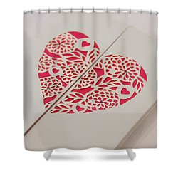 Paper Cut Heart Shower Curtain by Helen Northcott