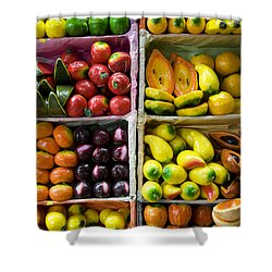Paper Mache Fruits Shower Curtain by Gloria & Richard Maschmeyer - Printscapes