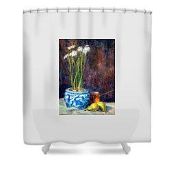 Paper Whites And Pears Shower Curtain