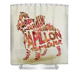 Shower Curtain featuring the painting Papillon Dog Watercolor Painting / Typographic Art by Inspirowl Design