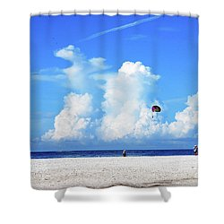 Shower Curtain featuring the photograph Para Sailing On Siesta Key by Gary Wonning