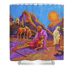 Parables Of Jesus Parable Of The Good Samaritan Painting Bertram Poole Shower Curtain by Thomas Bertram POOLE