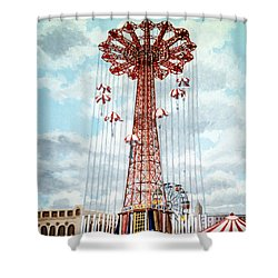 Parachute Jump In Coney Island New York Shower Curtain