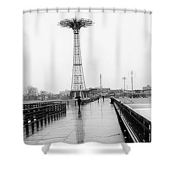 Shower Curtain featuring the photograph Parachute Jump In Rain by Dave Beckerman