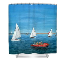 Parade Of Sail, 2009 - West Kirby Marine Lake Shower Curtain by Peter Farrow