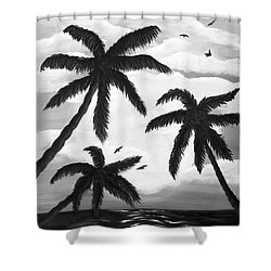 Paradise In Black And White Shower Curtain by Teresa Wing