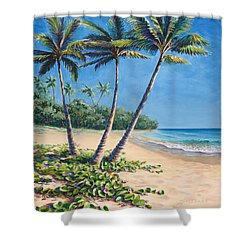 Shower Curtain featuring the painting Tropical Paradise Landscape - Hawaii Beach And Palms Painting by Karen Whitworth