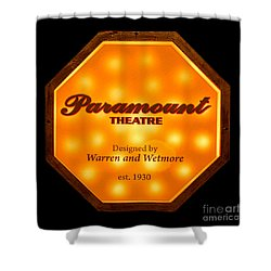 Shower Curtain featuring the photograph Paramount Theater Sign by Olivier Le Queinec