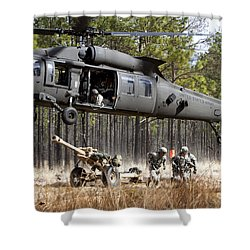Paratroopers Connect A Howitzer Shower Curtain by Stocktrek Images