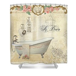 Parchment Paris - Le Bain Or The Bath Chandelier And Tub With Roses Shower Curtain by Audrey Jeanne Roberts