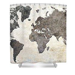 Shower Curtain featuring the digital art Parchment World Map by Douglas Pittman