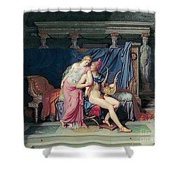 Paris And Helen Shower Curtain by Jacques Louis David