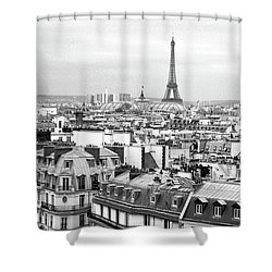 Paris And The Eiffel Tower From Printemps Rooftop  Shower Curtain by D Renee Wilson