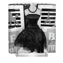 Shower Curtain featuring the photograph Paris Ballerina Costume Black And White French Decor - Parisian Ballet Art Black And White Art Deco by Kathy Fornal