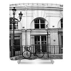 Shower Curtain featuring the photograph Paris Bicycle Street Lanterns Architecture Black And White Art Deco - Paris Black White Home Decor by Kathy Fornal