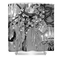 Shower Curtain featuring the photograph Paris Black And White Crystal Chandelier Mirrored Wall Decor -parisian Black White Chandelier Prints by Kathy Fornal