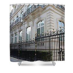 Shower Curtain featuring the photograph Paris Black Iron Ornate Gate To Parc Monceau - Parisian Gates  by Kathy Fornal