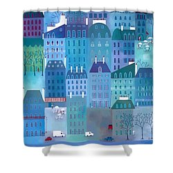 Paris Blues Shower Curtain by Nic Squirrell