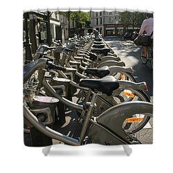 Shower Curtain featuring the photograph Paris By Bike by Yoel Koskas