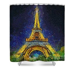 Shower Curtain featuring the painting Paris By Night by Dragica  Micki Fortuna
