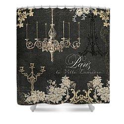 Paris - City Of Light Chandelier Candelabra Chalk Shower Curtain