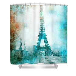 Paris Eiffel Tower Aqua Impressionistic Abstract Shower Curtain by Kathy Fornal