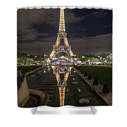 Paris Eiffel Tower Dazzling At Night Shower Curtain by Mike Reid