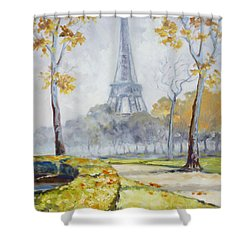 Paris Eiffel Tower From Trocadero Park Shower Curtain