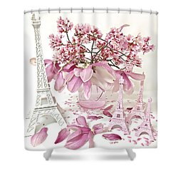 Shower Curtain featuring the photograph Paris Eiffel Tower Spring Magnolia Flower Blossoms - Paris Pink White Spring Blossoms  by Kathy Fornal