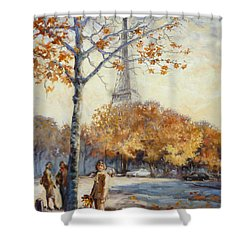 Paris Fall In Trocadero Park Shower Curtain