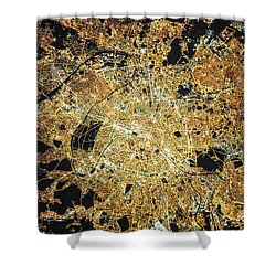 Paris From Space Shower Curtain by Delphimages Photo Creations
