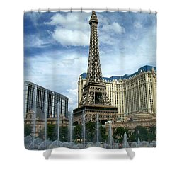 Paris Hotel And Bellagio Fountains Shower Curtain
