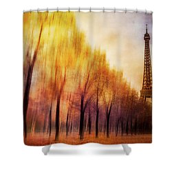 Paris In Autumn Shower Curtain by Marty Garland