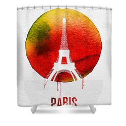 Paris Landmark Red Shower Curtain by Naxart Studio
