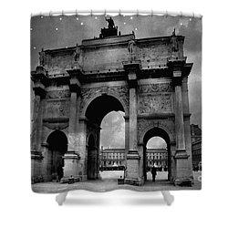Shower Curtain featuring the photograph Paris Louvre Entrance Arc De Triomphe Architecture - Paris Black White Starry Night Monuments by Kathy Fornal
