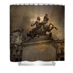 Paris - Louvre Palace - Kings Of Paris - King Louis Xiv Monument Sculpture Statue Shower Curtain by Kathy Fornal